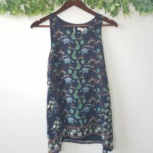 NWT Max Studio Navy Floral Sleeveless Tunic Top, S